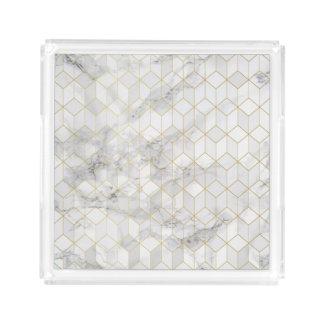 Bandeja De Acrílico Mármore branco com teste padrão do cubo do ouro