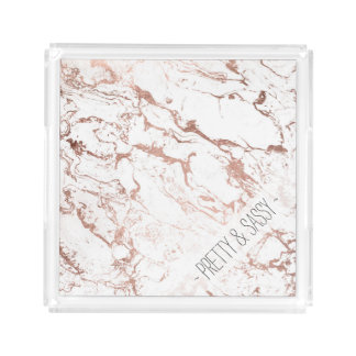 Bandeja De Acrílico Mármore cor-de-rosa do branco do ouro do falso