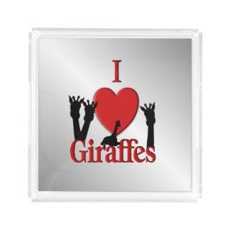 Bandeja De Acrílico Mim prata dos girafas do coração