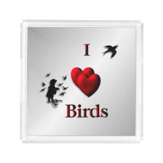 Bandeja De Acrílico Mim prata dos pássaros do coração