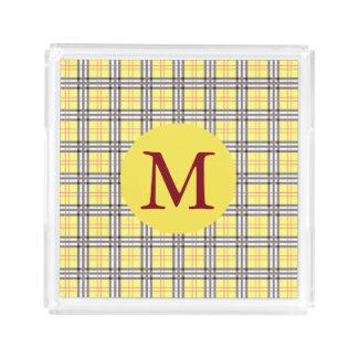 Bandeja De Acrílico Monograma amarelo e vermelho do teste padrão do