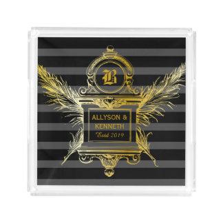 Bandeja De Acrílico Monograma clássico antigo do quadro do ouro das