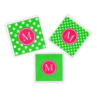 Bandeja De Acrílico Monograma cor-de-rosa e verde do verão das