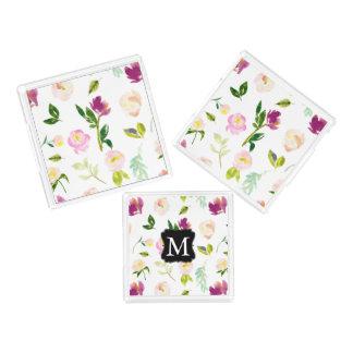 Bandeja De Acrílico Monograma floral da aguarela cor-de-rosa bonito