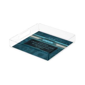 Bandeja De Acrílico Monograma, Steampunked Deco em gelo-azul e cerceta