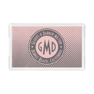 Bandeja De Acrílico Na moda cinzento cor-de-rosa milenar do monograma