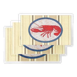 Bandeja De Acrílico Náutico azul branco vermelho do vintage rústico da