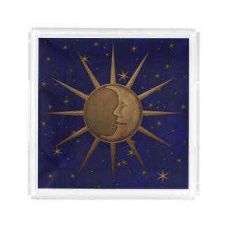 Bandeja De Acrílico Noite estrelado da lua celestial de Sun