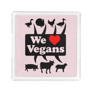Bandeja De Acrílico Nós amamos Vegans II (o preto)