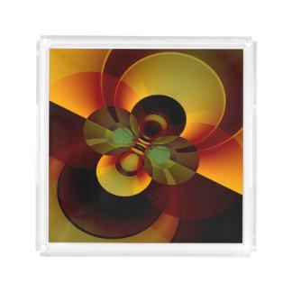 Bandeja De Acrílico O abstrato geométrico circunda Brown e ouro