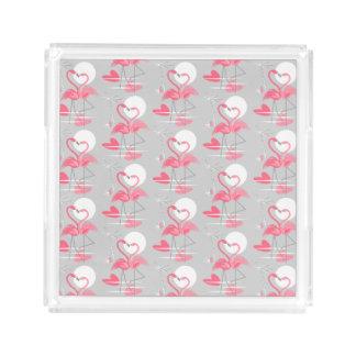 Bandeja De Acrílico O amor do flamingo telhou o acrílico quadrado