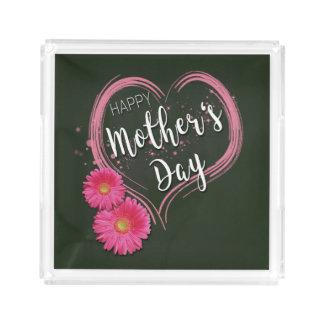 Bandeja De Acrílico O coração cor-de-rosa floresce o dia das mães -