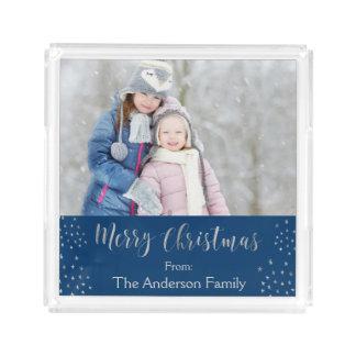 Bandeja De Acrílico O Feliz Natal azul e a folha de prata Stars a foto