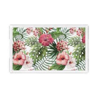 Bandeja De Acrílico O hibiscus tropical floresce o teste padrão da