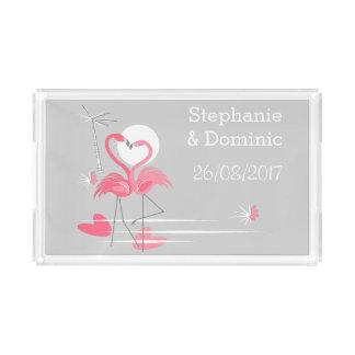 Bandeja De Acrílico O lado do amor do flamingo nomeia o acrílico da