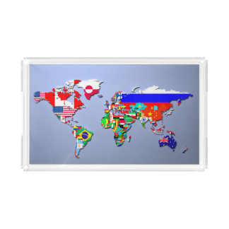 Bandeja De Acrílico O mapa do mundo com suas bandeiras
