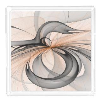 Bandeja De Acrílico O Sienna cinzento antracífero abstrato dá forma à