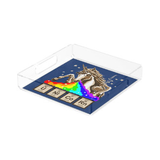 Bandeja De Acrílico O unicórnio da química pukes o arco-íris