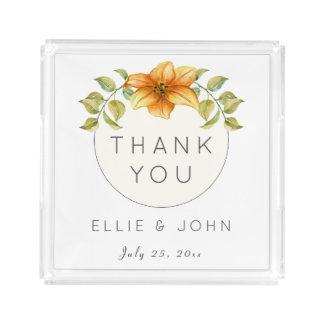 Bandeja De Acrílico Obrigado Wedding você favorece a flor da estrela