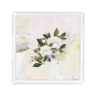 Bandeja De Acrílico Óleo floral Pastel elegante, original, sofisticado