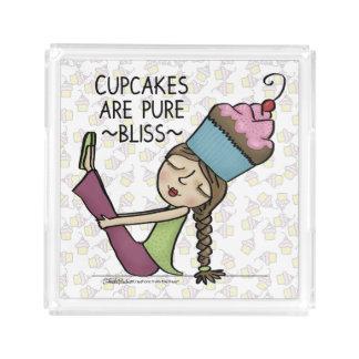 Bandeja De Acrílico Os cupcakes são felicidade pura