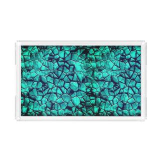 Bandeja De Acrílico Os seixos azuis da praia legal marmoreiam a