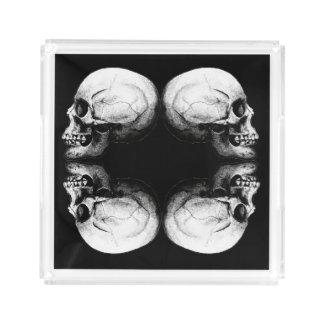 Bandeja De Acrílico Ossos protetores preto e branco do crânio X4 do