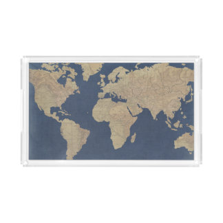 Bandeja De Acrílico Ouro e mapa do mundo azul