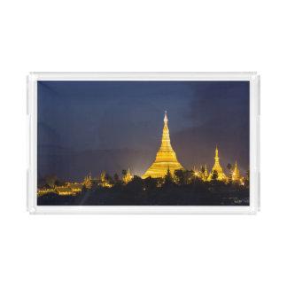 Bandeja De Acrílico Pagode de Shwedagon na noite