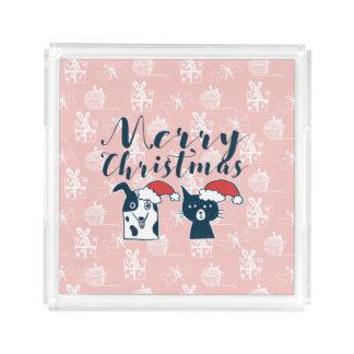 Bandeja De Acrílico Papai noel bonito cão & Natal da ilustração do