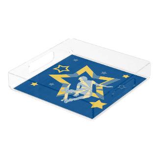 Bandeja De Acrílico Patinador da estrela no azul de Lapis & no amarelo
