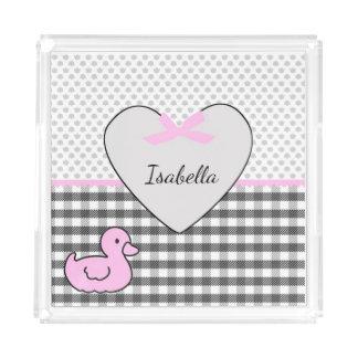 Bandeja De Acrílico Pato e coração de borracha personalizados