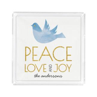 Bandeja De Acrílico Paz do ouro, amor, Natal da pomba da aguarela da
