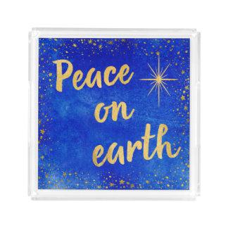 Bandeja De Acrílico Paz no azul do Natal da terra e no quadrado do