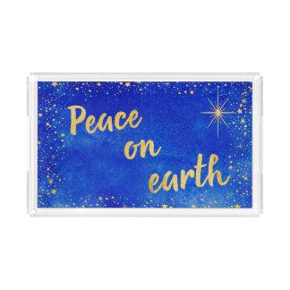 Bandeja De Acrílico Paz no retângulo do azul e do ouro do Natal da