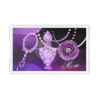 Bandeja De Acrílico Perfume do diamante & espelho de mão roxos