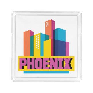 Bandeja De Acrílico Phoenix, skyline de néon da arizona |