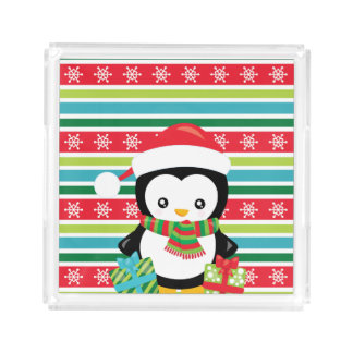Bandeja De Acrílico Pinguim do presente em fundo listrado do floco de