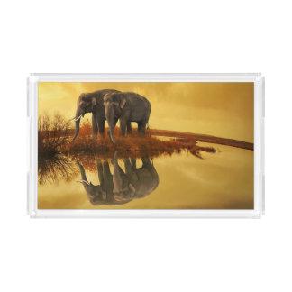 Bandeja De Acrílico Por do sol dos elefantes