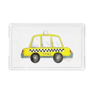 Bandeja De Acrílico Presente Checkered do táxi da Nova Iorque amarela