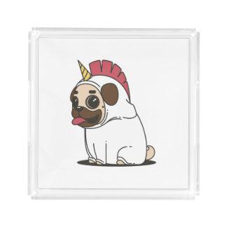 Bandeja De Acrílico Pug de sorriso dos desenhos animados em um traje