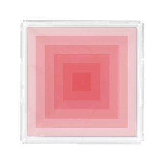 Bandeja De Acrílico Quadrado vermelho geométrico