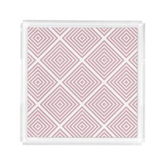 Bandeja De Acrílico Quadrados geométricos cor-de-rosa