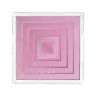 Bandeja De Acrílico Quadrados geométricos elegantes
