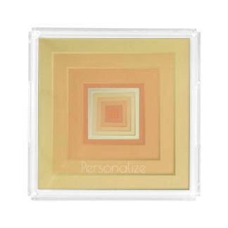 Bandeja De Acrílico Quadrados geométricos elegantes (amarelos macios &