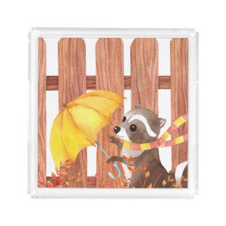 Bandeja De Acrílico racoon com guarda-chuva que anda pela cerca