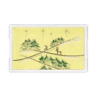 Bandeja De Acrílico Rena ingénua do esboço sob o céu do Natal
