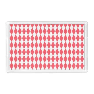 Bandeja De Acrílico Rhombuses do pêssego no teste padrão retro branco