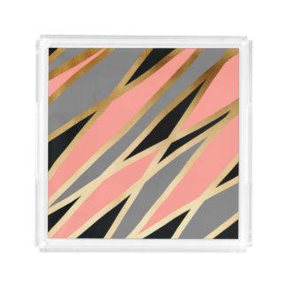 Bandeja De Acrílico rosa coral cinzento do preto abstrato elegante da