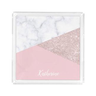 Bandeja De Acrílico Rosa de mármore branco do brilho cor-de-rosa